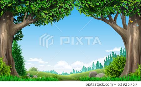 Landscape green hills mountains forest 63925757