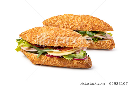sandwich with ham on white background 63928107