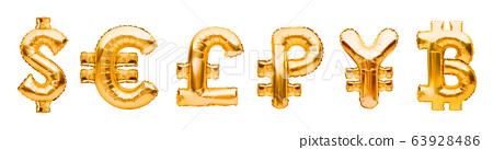 Money symbols made of golden balloons. Dollar, 63928486