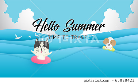 Hello summer poster or banner with happy dog and 63929423