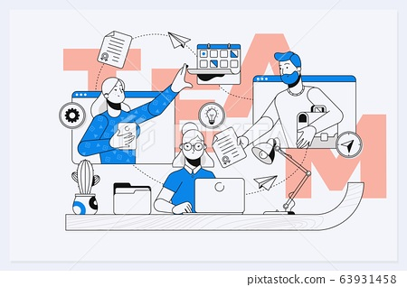 Businessmen together build word teamwork, abstract design graphic, construction business project. Line vector business illustration 63931458