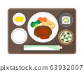 Illustration of hamburger set meal 63932007