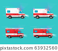 Ambulance and firetruck emergency cars or fire engine truck and medical emergency vehicle automobiles moving fast with siren flasher light vector flat cartoon illustration clipart image 63932560