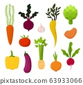 All kind of vegetables illustration Beet, tomato, potato, carrots and eggplant, celery, garlic, radish 63933066