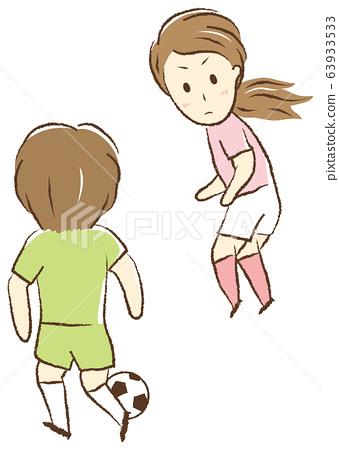 축구를하는 여자 일대일 63933533
