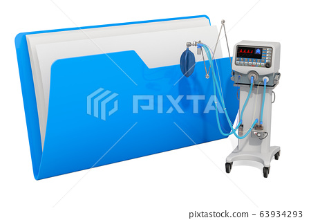 Computer folder icon with medical ventilator ICU. 63934293