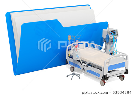 Computer folder icon with intensive care unit 63934294