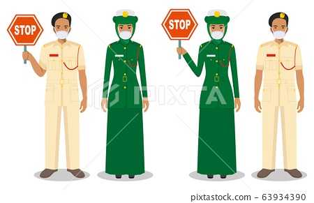 Police and quarantine concept. Couple of muslim arabian policeman and policewoman in traditional uniforms and protective masks standing together on white background in flat style. Vector illustration. 63934390