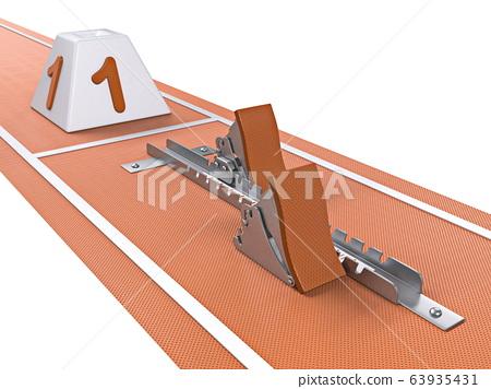 Single starting block in athletic running track 3D 63935431