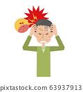 頭痛,中風,腦出血,腦血栓形成,男性,中年男性,父親,上半身 63937913