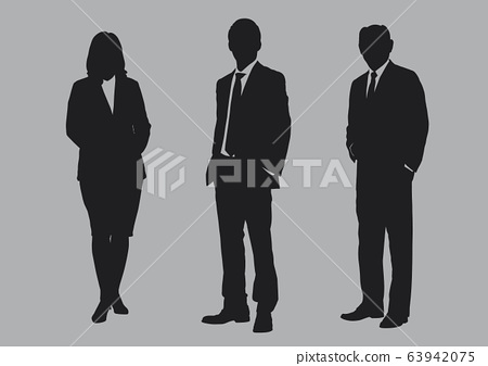 Business people group silhouettes pose on grey colour background, flat line vector and illustration. 63942075