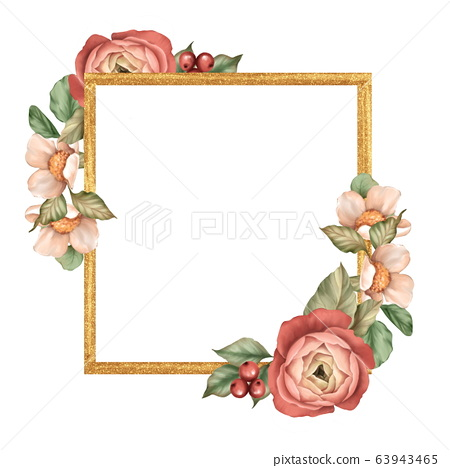 Gold square frame with flowers and leaves 63943465