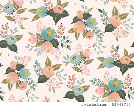 Vector illustration of a seamless floral pattern with spring flowers. 63945713