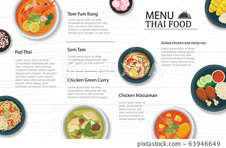 thai food menu restaurant on a white wooden table 63946649