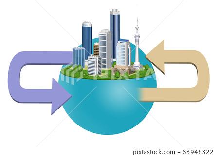 도시의 환경 변화를 표현한 화살표 들어간 일러스트 A 63948322