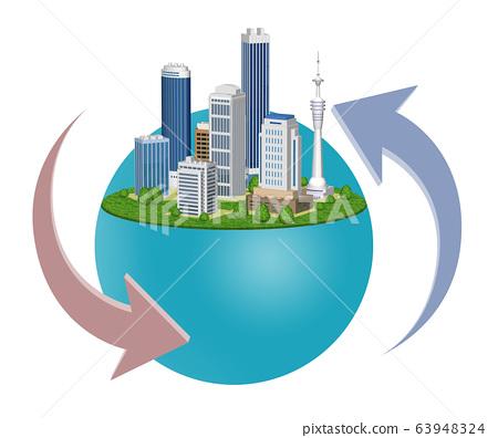 도시의 환경 변화를 표현한 화살표 들어간 일러스트 B 63948324