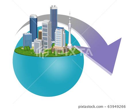 도시의 불황을 표현한 화살표 들어간 일러스트 63949266