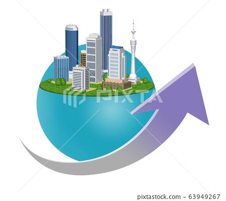 도시의 경제 성장을 표현한 화살표 들어간 일러스트 63949267