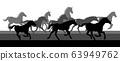Running Horses Silhouette Herd 63949762
