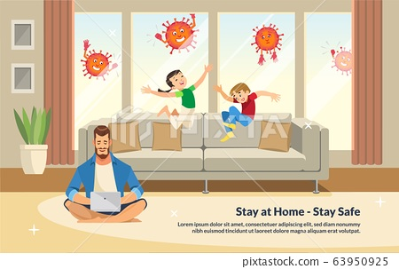 Flat Banner Illustration Stay at Home - Stay Safe 63950925
