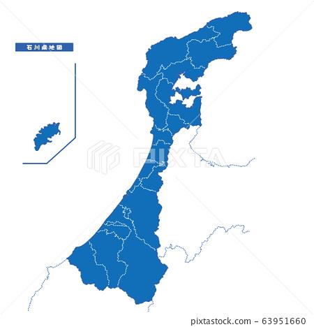石川縣地圖簡單藍色 63951660