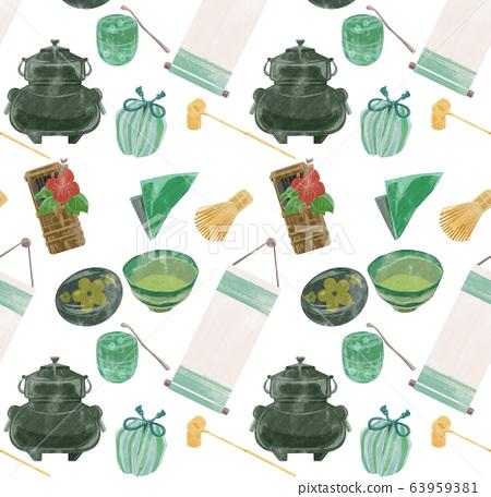 Tea ceremony utensil pattern illustration 63959381