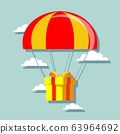 Flat design. Vector illustration. Delivery service. Parachute with parcel, gift in the sky. 63964692