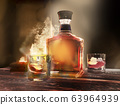 Bottle, and, glasses, on,  table,  rum, in, transparent 63964939