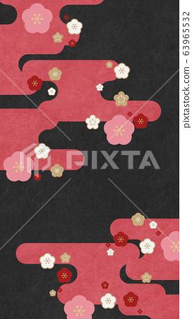 매화 - 구름 - 일본식 배경 소재 63965532