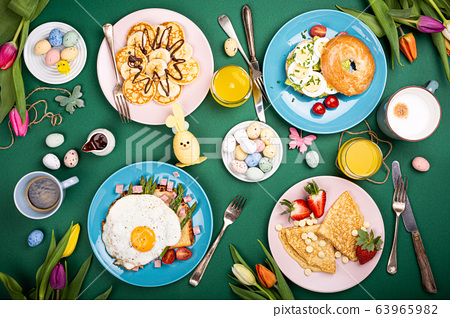 Easter breakfast flat lay 63965982