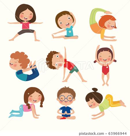 Variety Of Yoga Kids Yoga Poses For Children Stock Illustration 63966944 Pixta