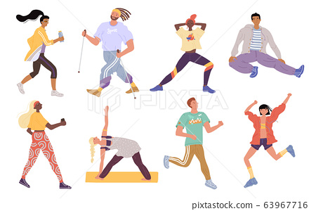 Vector active sports young people set. Crowd of men, women, trainer performing various activities. Characters running, nordic walking, stretching, standing yoga asana. Fitness, wellness and training 63967716