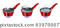 Set of red pans with boiling water, opened and closed pan lid 63970007