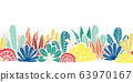 Abstract plants collage seamless vector border. Modern cactus and leave shapes repeating pattern red 63970167