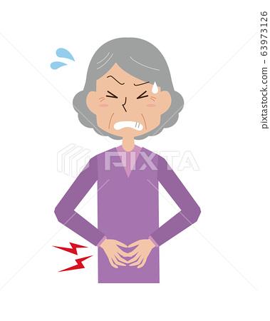 每餐腹痛女人奶奶痛苦疾病食物中毒胃痛上半身 63973126