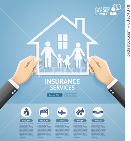 Insurance policy services conceptual design. Hand holding a paper family in house. Vector Illustrations. 63974378