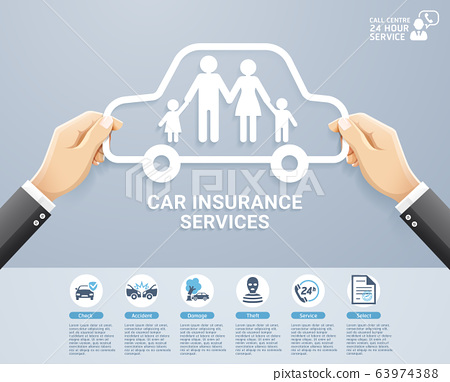 Insurance policy services conceptual design. Hand holding a paper family in car. Vector Illustrations. 63974388