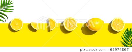Fresh yellow lemons overhead view 63974867
