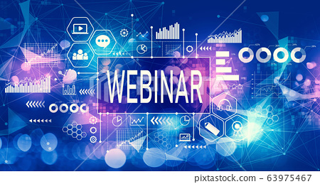 Webinar concept with technology light background 63975467