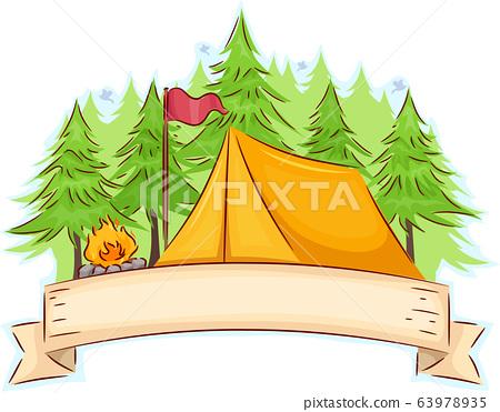 Camp Tent Ribbon Illustration 63978935