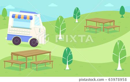 Food Truck Roam Park Illustration 63978958
