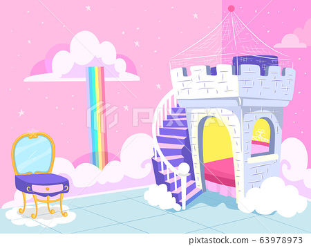 Kids Bedroom Fantasy Princess Theme Illustration 63978973