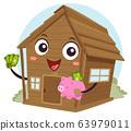 Mascot Cabin Off Grid Save Money Illustration 63979011