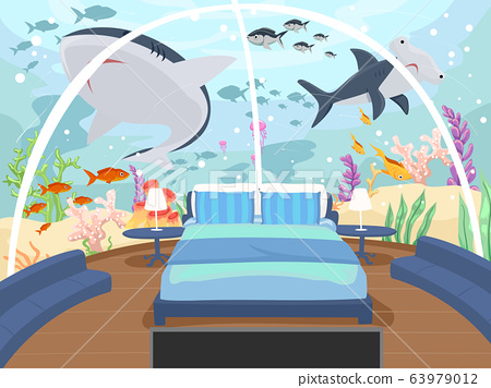 Underwater Hotel Bedroom Illustration 63979012