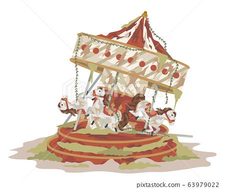 Abandoned Carousel Illustration 63979022