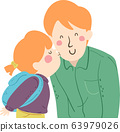 Kid Girl Kiss Man Dad Cheek Illustration 63979026