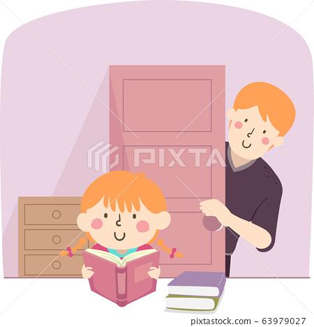 Kid Girl Man Study Father Checking Illustration 63979027