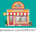 Grocery store front with window and door. 63981507