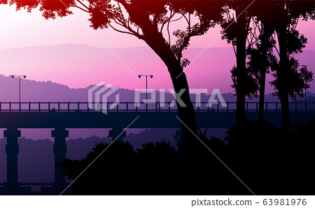 Bridges and travel. Natural forest mountains horizon hills silhouettes of trees. Sunrise and sunset. Landscape wallpaper. Illustration vector style. Colorful view background. 63981976