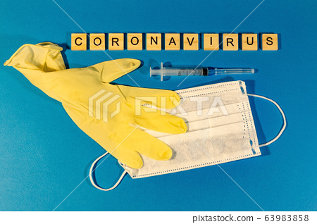 Medical mask, medical gloves and letters on the 63983858